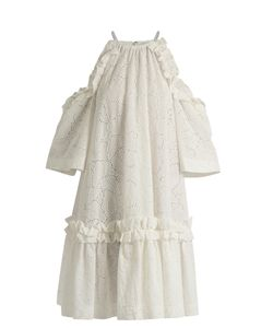 MSGM | Exposed-Shoulder Sangallo-Lace Dress