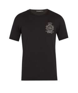 Dolce & Gabbana | Crest-Embroidered Cotton T-Shirt