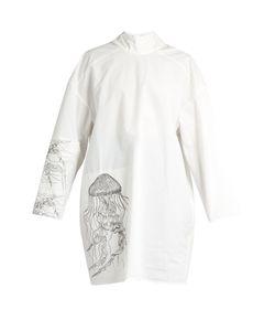 A.W.A.K.E. | Jellyfish-Print High-Neck Cotton-Blend Tunic Top