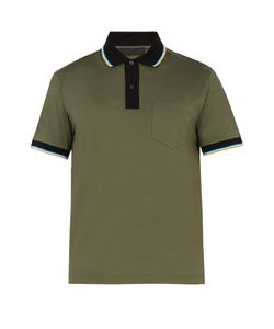 Prada | Contrast-Collar Stretch-Cotton Polo Shirt