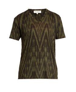 Etro | Ikat-Print V-Neck Linen T-Shirt