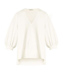 Tibi | Trapeze V-Neck Crepe Top