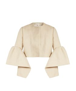Delpozo   Bell-Sleeved Linen Cropped Jacket