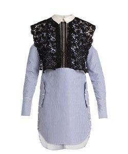 SELF-PORTRAIT | Lace And Striped-Cotton Dress