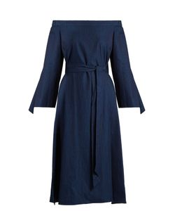 Tibi | Off-The-Shoulder Tie-Cuff Dress
