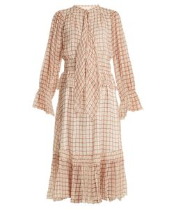 Chloe | Grid-Print Silk-Georgette Midi Dress