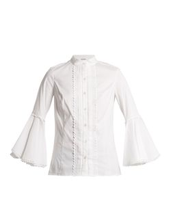 Oscar de la Renta | Ric-Rac Trimmed Cotton-Blend Blouse