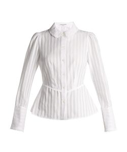 Sonia Rykiel | Broderie-Anglaise Collar Striped Cotton Blouse
