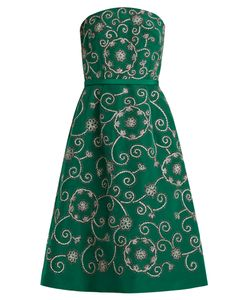Oscar de la Renta | Swirl-Embroidered Strapless Silk Dress