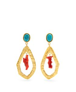 Sylvia Toledano   Corail Plated Clip-On Drop Earrings
