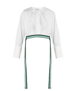 Diane Von Furstenberg | Ribbon-Trimmed Cropped Cotton Blouse