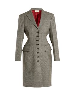 Sara Battaglia | Prince Of Wales-Checked Wool-Blend Coat
