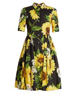 Dolce & Gabbana   Sunflower-Print Cotton-Poplin Shirtdress