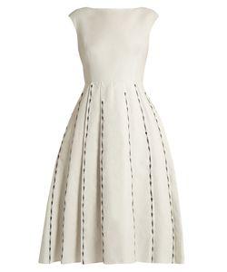 Bottega Veneta | Embroide Cap-Sleeved Linen-Blend Dress