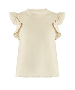 See By Chloe | Frill-Sleeve Crepe-Jersey Top
