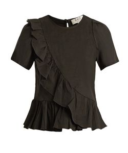 Sea | Asymmetric Ruffle-Trimmed Canvas Top