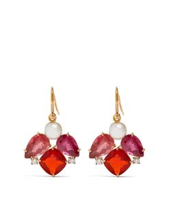 IRENE NEUWIRTH   Diamond Tourmaline Pearl Roseearrings