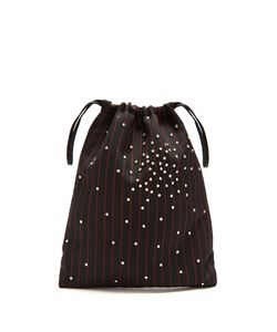 ATTICO | Crystal-Embellished Striped Drawstring Pouch