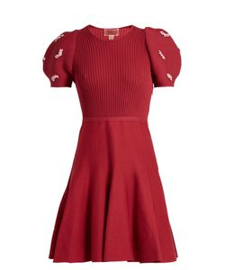 Giambattista Valli | Embellished Ribbed-Knit Cotton Dress