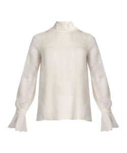 Valentino | Lace-Trimmed High-Neck Silk Blouse
