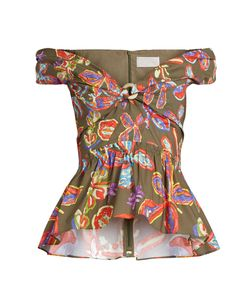 Peter Pilotto | -Print Peplum-Hem Cotton-Blend Top