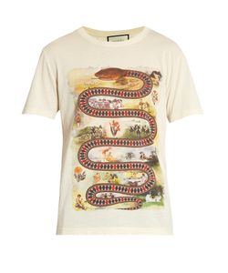 Gucci | Snake-Print Cotton T-Shirt
