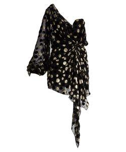 Saint Laurent   One-Shoulder Dot Fil Coupé Mini Dress