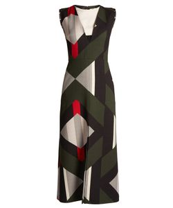 Fendi | Lozenges-Print Cut-Out Front Wool-Blend Dress