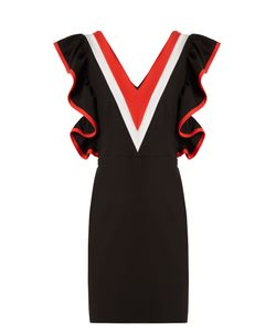 MSGM | Contrast-Panel Ruffled Jersey Mini Dress
