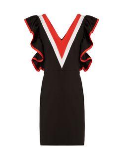 MSGM   Contrast-Panel Ruffled Jersey Mini Dress