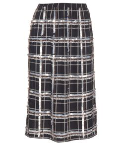 Mother Of Pearl | Alwyne Embellished-Checked Silk Skirt