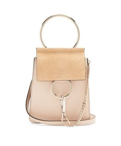 Chloe | Faye Mini Suede-Panel Leather Cross-Body Bag