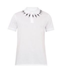 Neil Barrett | Lightning-Bolt Print Cotton-Piqué Polo Shirt