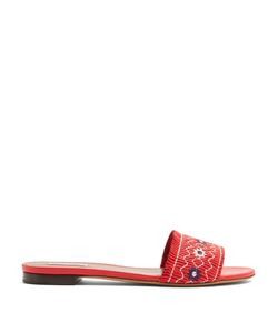 Tabitha Simmons | Dizzy Embroidered Leather Slides