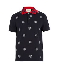 Gucci | Tiger-Embroidered Stretch-Cotton Polo Shirt