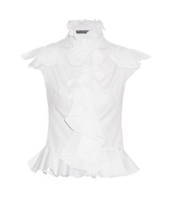 Alexander McQueen | Ruffled Cotton-Poplin Sleeveless Blouse