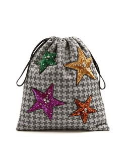 ATTICO | Sequin-Embellished Hounds-Tooth Drawstring Pouch