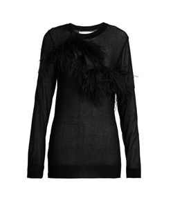 Marques Almeida | Feather-Trimmed Semi-Sheer Top