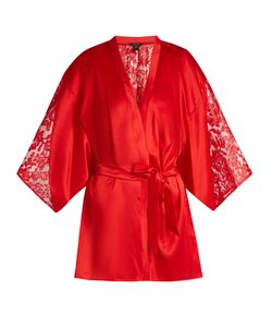 COCO DE MER | Rhea Lace-Insert Satin Kimono