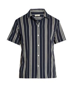 Éditions M.R | -Striped Short-Sleeved Cotton Shirt