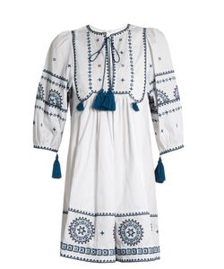 TALITHA | Tie-Front Embroide-Cotton Dress