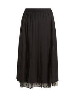 Muveil   Polka-Dot Tulle-Trimmed Pleated Skirt
