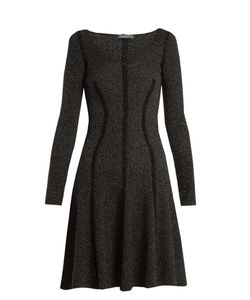 Alexander McQueen | Speckled Flared-Skirt Ribbed-Knit Dress