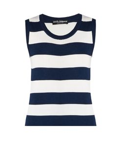 Dolce & Gabbana | Rigato Striped Silk-Jersey Sleeveless Top