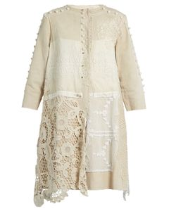 BY WALID | Lace-Panelled Linen Coat