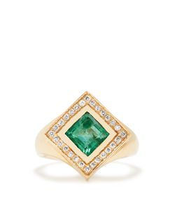 JADE JAGGER | Diamond Emerald Kite Ring