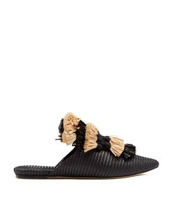 SANAYI 313 | Anetta Fringed-Tassel Raffia Slipper Shoes