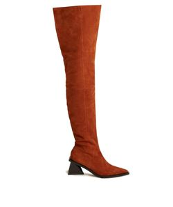 Marques Almeida | Thigh Suede And Leather Two-Tone Boots