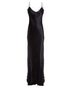Nili Lotan | V-Neck Raw-Hem Silk-Satin Dress
