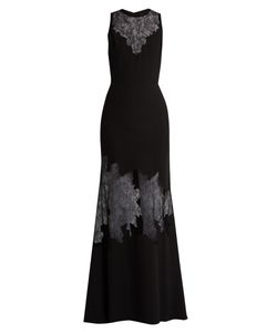 Elie Saab | Lace-Insert Belted Crepe Gown
